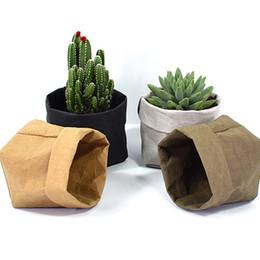 Fiber Pots Australia - Mini Succulents Planter Pot Washable Kraft Paper Flowerpot Creative Desktop Flower Pots Reuseable Multifunction Home Storage Bag C19041901