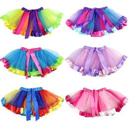 Girls dancinG short skirt online shopping - Girls Rainbow TUTU Skirt Girls Bubble Skirt Grenadine Short Dress Perform Dancing Dress Rainbow Color Unicorn Dresses CCA11010