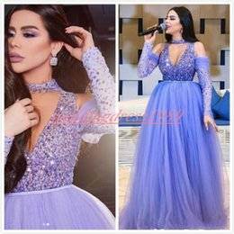 $enCountryForm.capitalKeyWord UK - Bling Crystal Beads Evening Dresses Long Sleeve 2019 Sheer Arabic Dubai Vestidos De Festa Pageant Guest Formal Gowns Plus Size Party Prom