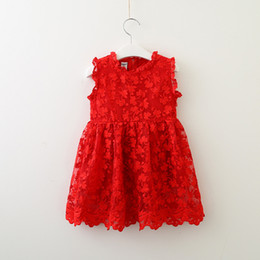 $enCountryForm.capitalKeyWord NZ - Retail Girls lace butterfly embroidered dress female baby cotton red sleeveless dress princess dress summer children's clothing