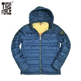 jacket tiger Australia - TIGER FORCE 2017 New Arrival Men Fashion Padded Jacket Hooded Thin Cotton Padding Coat Polyester Detachable Hood Free Shipping