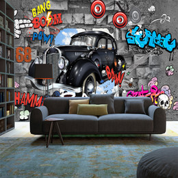 vintage car prints NZ - Cute cartoon car 3D stereo wallpaper music mural vintage graffiti style wallpaper for children's room bedroom themed venue wall decorative