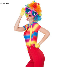 Wholesale circus costumes women for sale – halloween S XL Woman Halloween Circus clown Costumes Female droll Joker Cosplay Carnival Purim parade stage play Nightclub bar party dress