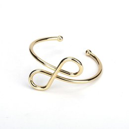 $enCountryForm.capitalKeyWord Australia - Minimalist Simple Pure Gold Color Metal Infinity Knot Art Charm Adjustable Bracelet Open Bangle for Women Hand Jewelry