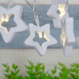 $enCountryForm.capitalKeyWord NZ - SXI 50pcs lot wholesale Star Wooden Shaped String Light Battery Powered Fairy Patio Light For Christmas Garden Wedding Party Decoration