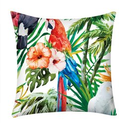 Tropical cushions online shopping - Tropical Plants Palm Leaf Green Leaves Monstera Cushion Covers Hibiscus Flower Cushion Cover Decorative Sofa Pillow Case