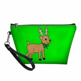 Wholesale Christmas Reindeer Pencil Bag Ladie Travel Cosmetic Case Summer Toiletry Storage Bag Women shopping purse Gift Makeup
