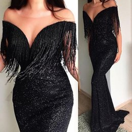 $enCountryForm.capitalKeyWord NZ - Sparkly Black Sequins Mermaid Evening Cocktail Dresses 2019 Off Shoulder Tassel Full length Trumpet Occasion Prom Party Gown Cheap