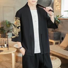 Open Kimono NZ - Cotton Cardigan Jacket Men Embroidery Chinese Kimono Shirt Streetwear Hip Hop Casual Coat Loose Open Stitch Jackets Size M-5XL