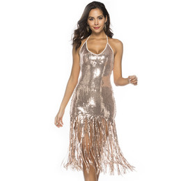 15a244b5823d Sexy Paillette Quaste Dress Women Holder Backless Shiny Gold Sequin Fringe  Sparkly Dress Elegant Promi Bodycon Party Dress