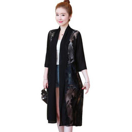 Wholesale long three quarter sleeve coat resale online - Fashion Ladies Lace Patchwork Chiffon Jacket Oversize New Women Three Quarter Sleeve Solid Loose Thin Long Open Stitch Coat