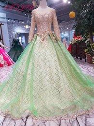 $enCountryForm.capitalKeyWord Australia - AXJFU Luxury princess green lace wedding dress o neck beading golden flower glaring green lace wedding dress 100% real photo 550
