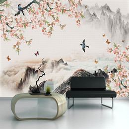 paintings birds flowers 2019 - Seamless wallpaper New chinese style flower and bird illustration landscape painting living room background wall paintin