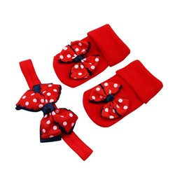 Hair band bow style online shopping - Cute T Christmas style bow knot Dot Double Layer Bow Baby Cotton Socks Dispensing Non slip Baby Socks Hair Band