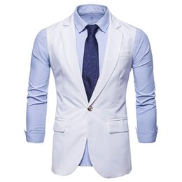 Mens White Lapel Single Breasted Suit Vest 2019  New Slim Fit Waistcoat Vest Men Formal Business Vests Chalecos Para Hombre
