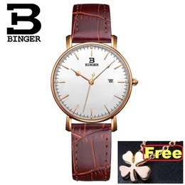 binger watch strap NZ - New Switzerland BINGER WOMen's Watches Quartz Leather Strap Ultrathin FEMale Wristwatches Waterproof Clock B3053L