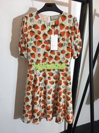 $enCountryForm.capitalKeyWord Australia - women girls 100% silk shirt dress strawberry letter print crewneck short sleeves a-line trumpet mini skirts high-end fashion luxury dresses
