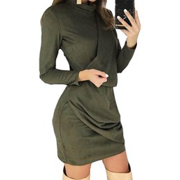 mini robe vintage Canada - Fashion Turtleneck Women Mini Suede Dress Irregular Skinny Club Party Dress Zippers Elegant Femme Robe Vintage Dresses New M0353