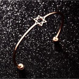 $enCountryForm.capitalKeyWord Australia - Women Six-pointed Star Bracelet Simple Bangle Jewelry Triangle Metal Cuff Bracelets Lady Gold Silver Square Bangles Dropshipping