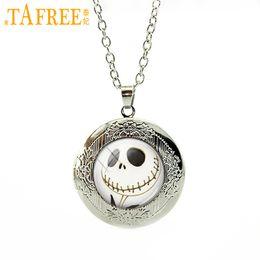 Jack Gifts Australia - TAFREE Halloween gifts Nightmare Before Christmas Locket Necklace art Jack Skellington punk skeleton skull pendant jewelry N753