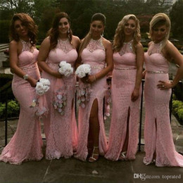 full lace pink dresses Australia - Blush Pink Sexy Beach Full Lace 2020 Mermaid Bridesmaid Dresses Jewel Illusion Sweetheart sleeveless Beaded Collar Empire Split Long Dresses