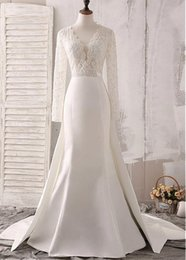 See Through Wedding Dress Crystal Beading Australia - Real Pictures Tulle Satin V-neck See-through Bodice Mermaid Wedding Dresses With Beaded Embroidery Long Sleeve wedding dress bridal gowns