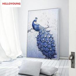 $enCountryForm.capitalKeyWord Australia - YGS-748 DIY 5D Full Diamond Vertical version blue peacock Diamond Painting Cross Stitch Kits Diamond Mosaic Home Decoration