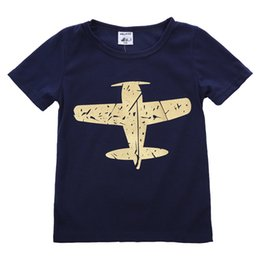 $enCountryForm.capitalKeyWord Australia - Kids Baby Boys T Shirt Airplane Print Tees Top Aircraft Printing Summer Clothes Soft Cotton Blue