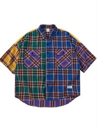 Dark Color Shirt Men Australia - 2019 new high street dark stitching color matching plaid short-sleeved shirt retro oversize loose men and women shirt