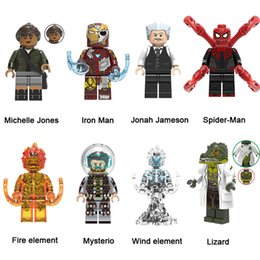 spider building blocks NZ - Peter Parker Mysterio Iron Man Lizard Fire Element Spider Man Far From Home Super Hero Action Figure Toy Marvel Avengers Building Blocks