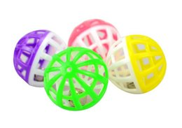 hollow sounding toys Australia - 10pcs Plastic Small Cat Toys Ball Pet Sound Cat Toys Hollow Out Round Colorful Playing Pet Toys Ball With Small Bell Cat Product