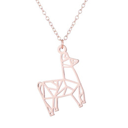 Rose Contracting NZ - Stainless Steel Pendant Brass Chain Necklace Charm Women Choker Jewelry Collier Contracted Hollow out a horse NYX-7