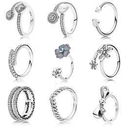 $enCountryForm.capitalKeyWord Australia - 9 Style New 925 Silver Rings With Classic Daisy Lotus Rice Ear Bow Crystal Round Finger Open Ring For Women Jewelry