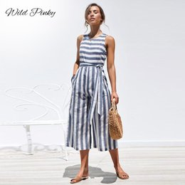 $enCountryForm.capitalKeyWord Australia - Wildpinky Casual Striped Jumpsuit Women Summer 2019 Tie Up Rompers O-neck Sleeveless Jumpsuits Cotton Wide Leg Pants Overalls MX190726