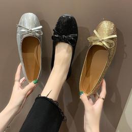 $enCountryForm.capitalKeyWord Australia - Doug Mouth Shallow Single Shoe Woman Bow Paillette Set Foot Square Fashion2019 A Wide Range Of Soft-soled Ladle Shoes