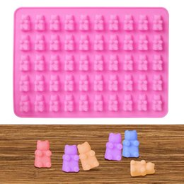 fondant bear mold Canada - Fondant Baking Mould 3D Mini Bear 50 Cavity Silicone Mold Chocolate Candy Ice Jelly Mold Cookie Cake DIY Decorating Tools