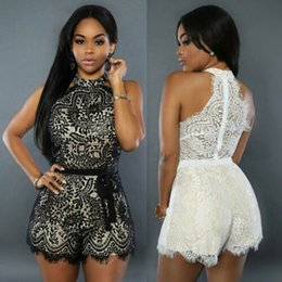 Women Jumpsuit Romper Playsuit Australia - Women Ladies Solid Sleeveless Hanging Neck Sexy Lace Bodycon Summer Beach Holiday Short Romper Jumpsuit Playsuit