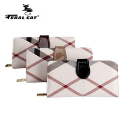 $enCountryForm.capitalKeyWord Australia - FERAL CAT Womens Wallets Purses Plaid PVC Leather Long Wallet Hasp Phone Bag Money Coin Pocket Card Holder Female Wallet Purse