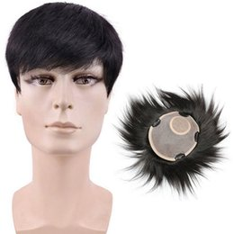 Hair Toupee Wig UK - Swiss Lace French Men's Toupees 100% Real Natural Human Hair Full Lace Wig Short Silk Base Hand Made Top Toupee 16*18cm Straight Hairpiece