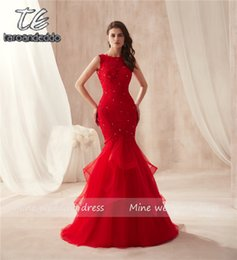 Red Mermaid Casual Dress Australia - Sleeveless Hot Red Mermaid Ruffled Skirt Tulle Prom Dress Lace Sexy Trumpet Long Party Formal Evening Dress Vestido Formatura Y19042701