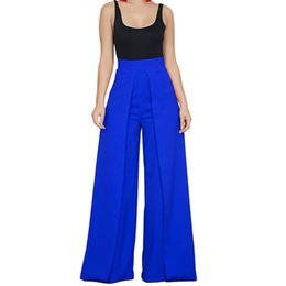 6f728a80b53 Chic High Waist Zipper Palazzo For Women Casual Loose Wide Leg Pants Ladies  Elegant Long Culottes Trousers Pantalon Femme C19041701