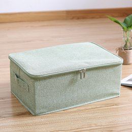 $enCountryForm.capitalKeyWord Australia - Zipper Foldable Storage box Linen S Storage bin Wardrobe Organizer Clothes Storage Box For Pillow quilt clothesclothes underwear bra