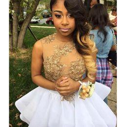 $enCountryForm.capitalKeyWord UK - Short Cheap Homecoming Dresses for Summer with Gold Appliques Sequins 8th Grade Prom Dress Party Gowns Vestido De Festa Graduation Dresses