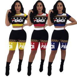 $enCountryForm.capitalKeyWord Australia - Women F Letter Shorts Tracksuit Block Letter Zipper Suit Top + shorts 2 Piece Set Summer FF Outfits free shipping