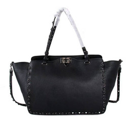 Genuine leather work baGs women online shopping - 2019 classic modern genuine cow leather high fashion show lady handbag OL stud tote big size special soft bag travel work top quality V cm