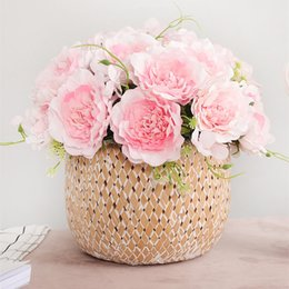 $enCountryForm.capitalKeyWord Australia - Beautiful Small Open Rose Bouquet Silk Artificial Flowers For Home Table Decoration Mariage Babyshower Flores Artificiales