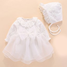 dress girls pink long wedding Australia - New Born Baby Girls Dress Long Sleeve White Wedding Dresses Party&christening Gowns Dress For Baby Girl Bapteme Vestido Y19050801