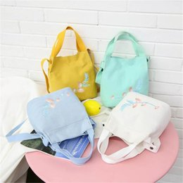 wholesale sling handbags NZ - Hot Sale Handbag Summer Canvas Bags For Women 2018 Slung Shoulder Bag Small Fresh Literary Embroidery Bucket Casual Bag