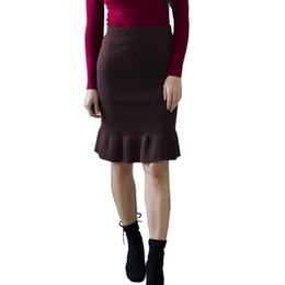 Wholesale long skirts resale online - Elastic Women Pencil Skirts Autumn Winter Warm Ladies Office Wear Elegant Knitted Straight Skirt Mid Long Bodycon Skirt Female