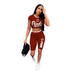 Pink Clothing Women UK - PINK women tracksuit sports 2 piece set summer clothing designer letter print short sleeve t-shirt bodycon mini shorts gym jogger suit 629